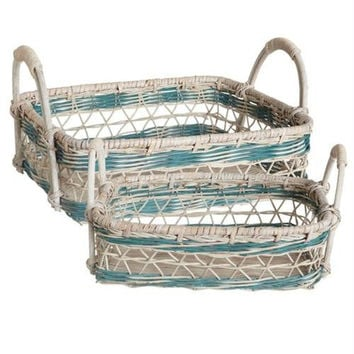 2 Wicker Basket Trays - Open Weave