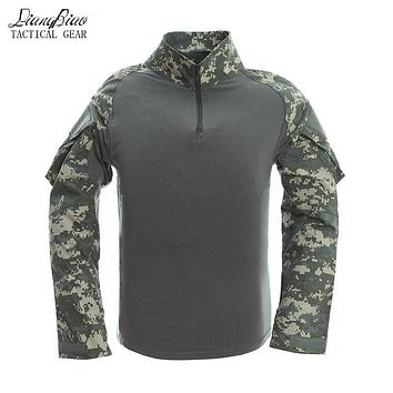 Brand Male Camouflage T-shirts Army Combat Tactical T Shirt Military Men Long Sleeve T-Shirt Hunt T-shirts,C2J