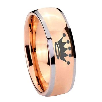 8MM Rose Gold Dome Crown 2 Tone Tungsten Carbide Laser Engraved Ring