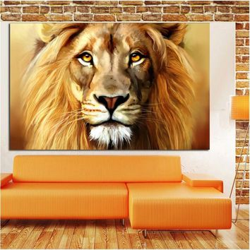 HD Print African Lion Head Angry Lion On Mountain Animal Oil Painting on Canvas Wall Art Picture for Living Room Cuadros Decor