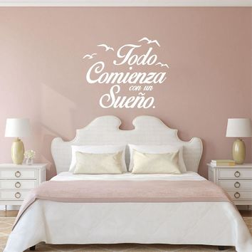 Spanish Quote Vinyl Wall Stickers Bedroom Wall Decals Birds Letterings Home Decor Bedroom Decoration