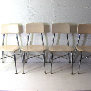 Vintage 1960s industrial childrens chairs // school chairs // set of 4