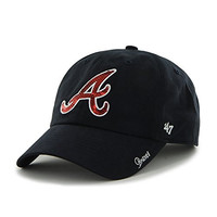 MLB Atlanta Braves Women'S Sparkle Team Color Clean Up Adjustable Hat, One Size, Navy