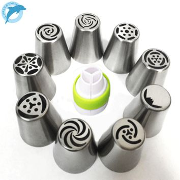LINSBAYWU 9Pcs Tulip stainless steel Nozzles birthday Cake Cupcake Decorating Icing Piping Nozzles Rose Flower Cream Pastry Tips