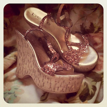Cork Wedge Platform 70s Disco Style Heels with Bronze by SewRed