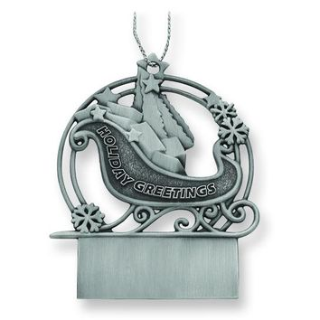 Engravable Pewter Sleigh Ornament