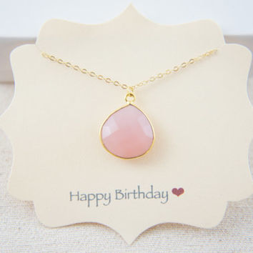 Beautiful gold vermeil natural rose pink chalcedony necklace, wedding, bridesmaids, gift
