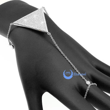 Finger Wrist Bracelet Harness Ring Rhodium over Sterling Silver Signity CZ