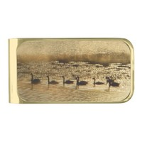 Geese on Golden Pond Gold Finish Money Clip
