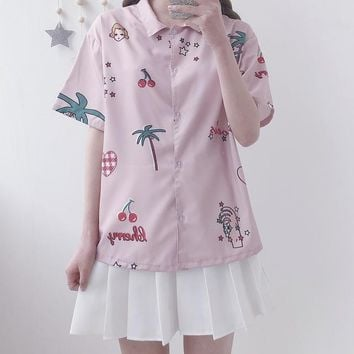 2018 Summer New Sweet blusas Japanese Retro Digital Print Shirt Cherry Childlike chic Top Vadim Plus Size pink Blouse