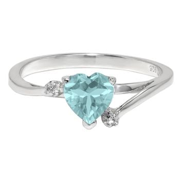 .61 Ct Heart Sky Blue Aquamarine and White Topaz 925 Sterling Silver Ring