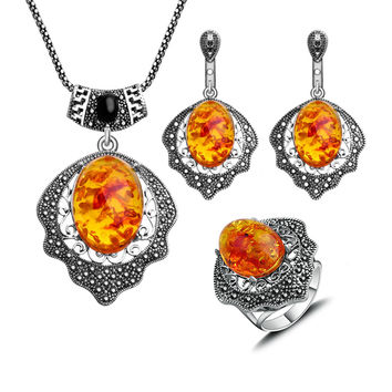 New Arrival Antique Jewellery Silver Plated Vintage Fashion Jewelry Sets Black Rhinestone And Faux Amber Statement Necklace set