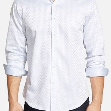 Men's Bugatchi Shaped Fit Jacquard Sport Shirt,