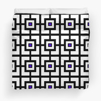 Black White and Purple Square Tiles by KCavender