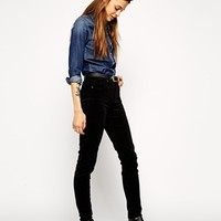 ASOS Ridley Skinny Jeans in Washed Black Cord
