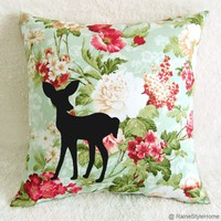 Deer In My Garden. Teal Green Summer Floral Pillow Cover. Black Deer