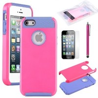 iPhone 5S Case,Pandamimi ULAK Rose Red & Blue Fashion Sweety Girls TPU + PC 2-Piece Style Soft Hard Case Cover for iPhone 5 5S with Free Screen Protector and Stylus