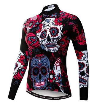 100% Polyester Women Long Sleeve Cycling Jersey Mountain Bicycle Clothing Skull Print