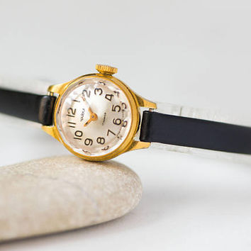 Little women's watch, gold plated lady's watch Seagull, micro women's watch, cocktail watch small, oblique angles cover, new premium strap