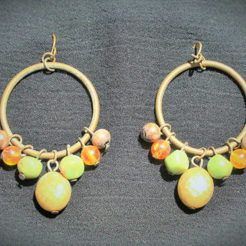 Vintage Boho Hippie Hoop Earrings In Brass with Yellow, Green and Wood Beads