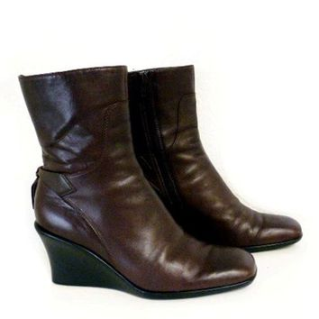 Vintage Ankle Boots Brown Genuine Leather Pump Boots Nine West Zip Up Women Sz 6.5