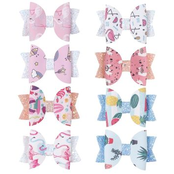 "8 pcs/lot , 3"" flamingo unicorn print leather Hair Bow Clips, Glitter Faux Leather Bow Hairpins, Girls Hair Accessories"