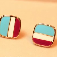 three-colour retro square OL multicolor navy stripes ear stud