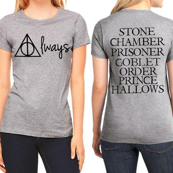 T-Shirt Women's S - XL Cotton Always on Front Movie Names on Back  (Harry Potter)