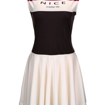Casual Band Collar Color Block Letters Skater Dress