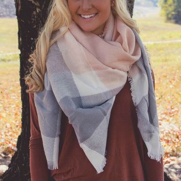 Pink/Gray Blanket Scarf