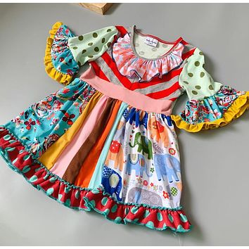 3078e9399ba Cotton Baby Girls dress Summer autumn floral Flower boutique Infants toddler  Kids ruffles little girl princess