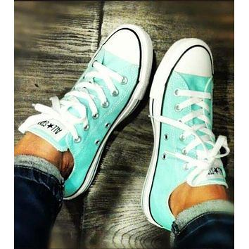"""Converse"" Popular Women Men Casual Canvas Flats Sport Shoes Sneakers Mint Green I"