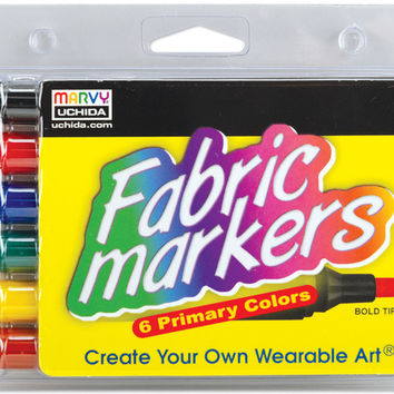 fabric marker broad tip 6/pkg-primary