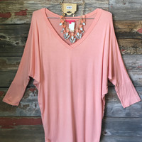 3/4 Sleeve V-Neck Dolman Top: Peach