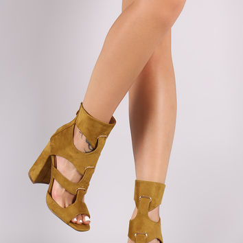 Suede Strappy Peep Toe Chunky Heel