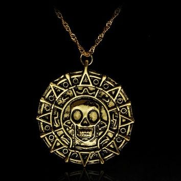 DROP SHIPPINNG Charm Necklace Pirates Of The Caribbean Necklace Jack Sparrow Aztec Coin Medallion Vintage Jewelry