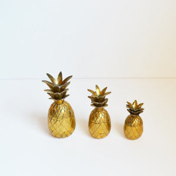 Vintage Brass Pineapples Brass Pineapple Boxes Set of 3 Small Brass Pineapple Boxes Mid Century Barware Ananas Pina