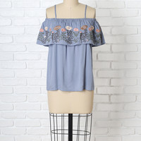 Adria Embroidered Cold-Shoulder Blouse