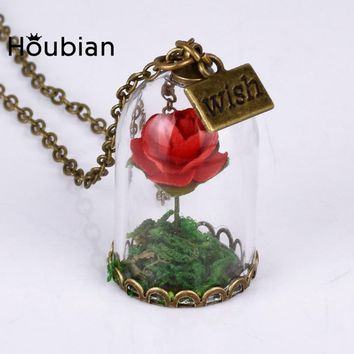 HouBian 3Pcs/lot Retro Necklace Wishing Bottle Rose Long Necklace for Women Gift Beauty and the beast Necklace Accessories