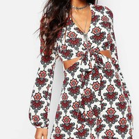 Glamorous Tie Front Dress In Festival Floral Print
