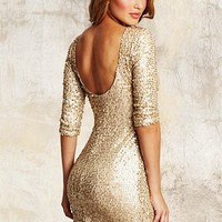 Gold Sequin Low Back Dress With Sleeves
