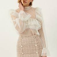 Selma Dot Ruffle Mesh Blouse Discover the latest fashion trends online at storets.com