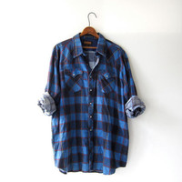 Vintage Plaid Flannel / Boyfriend Shirt / Oversized button up shirt / Preppy flannel / Pearl snap shirt