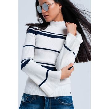 Navy striped white sweater