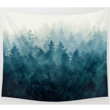 Foggy Forest Tapestry, Beach Throw, Home Decor  150*200cm Polyester