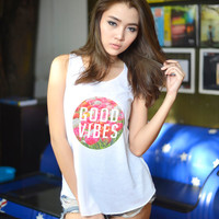 Good Vibes Shirt Tank Top Flower Floral Print Design Women Teen Clothing Tank Top Screenprint TShirt