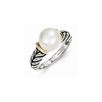 Antique Style Sterling Silver 10mm Button Freshwater Cultured Pearl Ring
