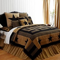 """4pc Delaware Star Hand Quilted Queen Quilt Bedding Set 2 Shams 1 Burlap Pillow """"Simply Blessed"""" 15% Discount"""
