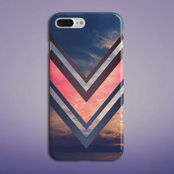 Pink x Navy Chevron Ocean Sunset Phone Case, iPhone 7, iPhone 7 Plus, Rubber Phone Case, Galaxy S7 Samsung, Nature, Beach, CASE ESCAPE