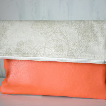 Vegan Leather and Canvas Foldover Spring Summer Clutch Purse Coral and Beige Yellow